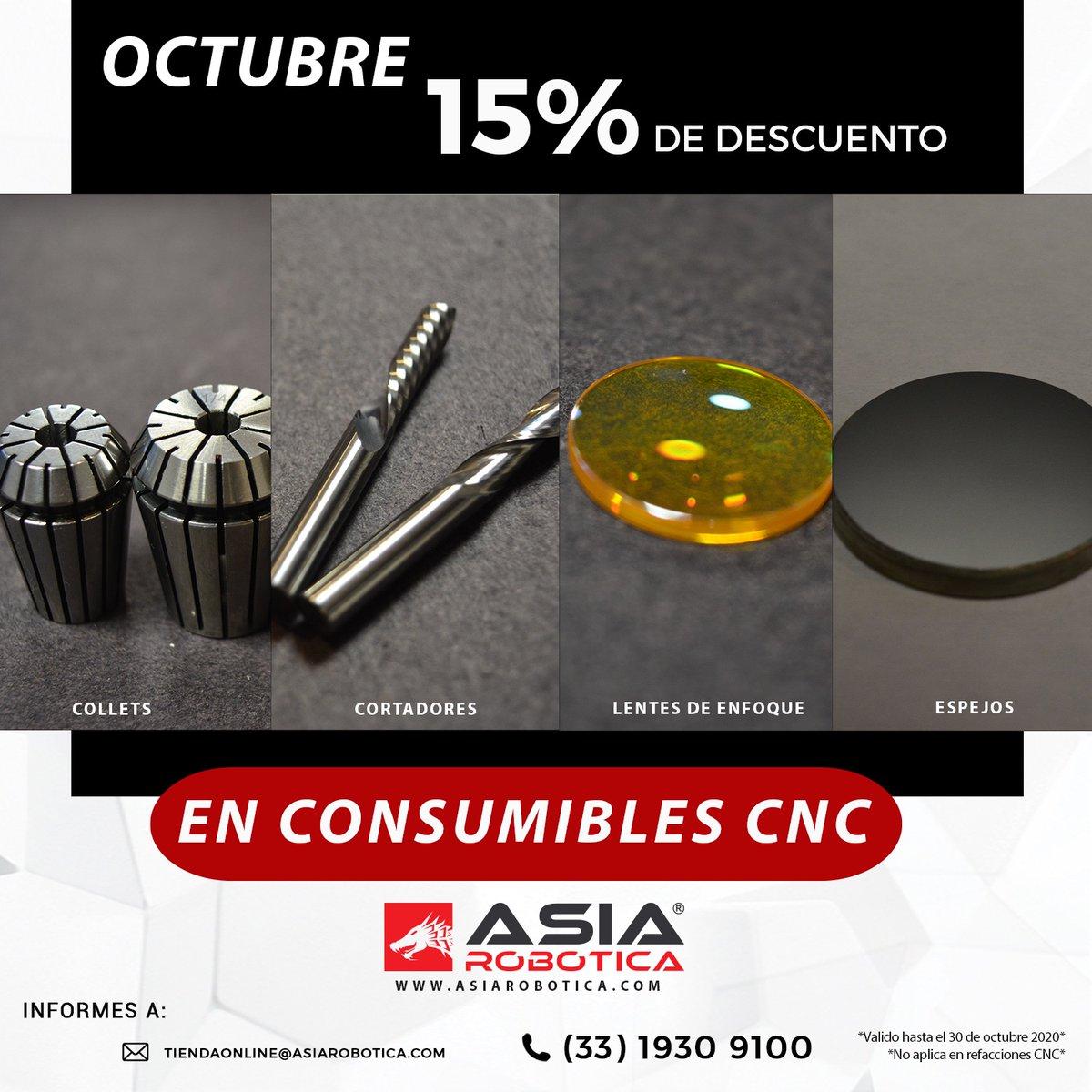 Mes de Octubre 15% de descuento en consumibles CNC 🌐 https://t.co/nyeuG9TwKL  #routercnc #laserco2 #cnc https://t.co/T4KRVnCcWw