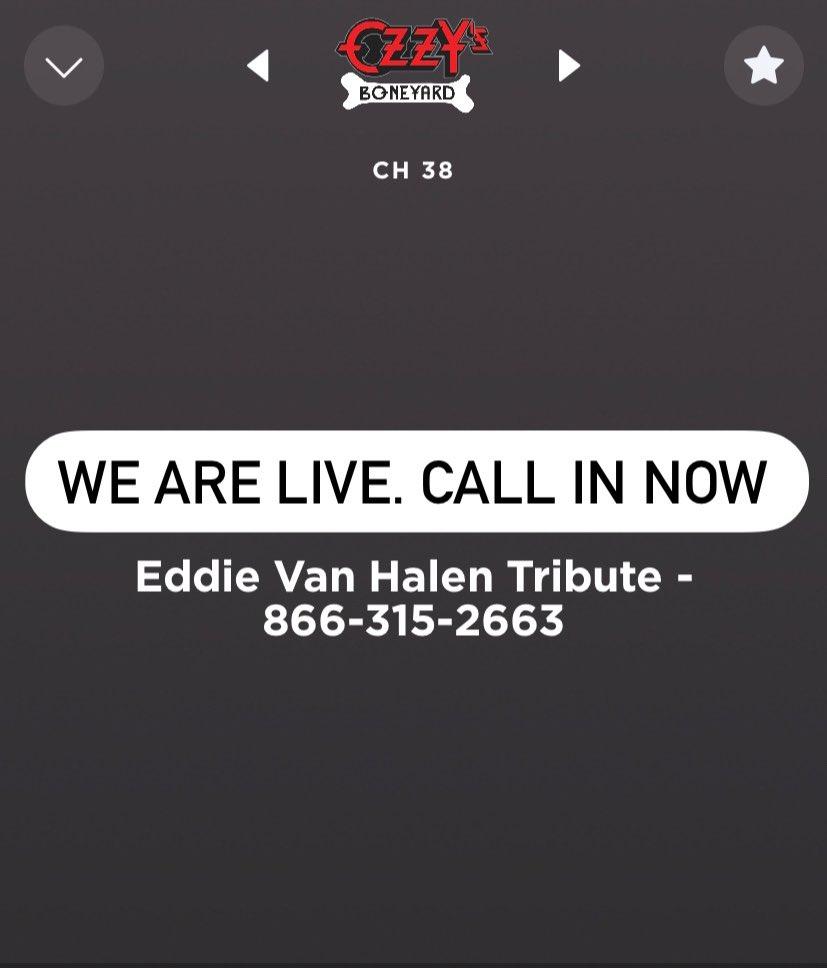 R.I.P. Eddie Van Halen We are live now on Ozzys Boneyard. Call in 866-315-2663