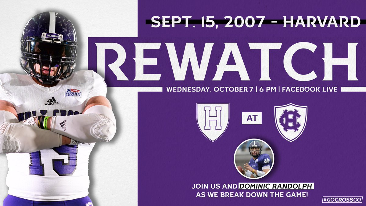 In 24 hours, well be hosting our next @HCrossFB rewatch on Facebook Live! Join Dominic Randolph on Wednesday at 6 p.m. as we revisit our 2007 game vs. Harvard. facebook.com/goholycross #GoCrossGo
