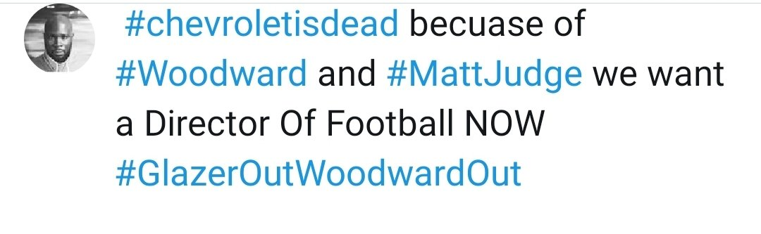 Tomorrow can we get this trending  #chevroletisdead becuase of #Woodward and #MattJudge if any graphic designer has an image of one of there cars to say dead with poo on it  brilliant everyone hit the RT go after the sponsors #ForceThemToListen #GlazerOut 👇👇👇👇 https://t.co/6HMWe4LrAn