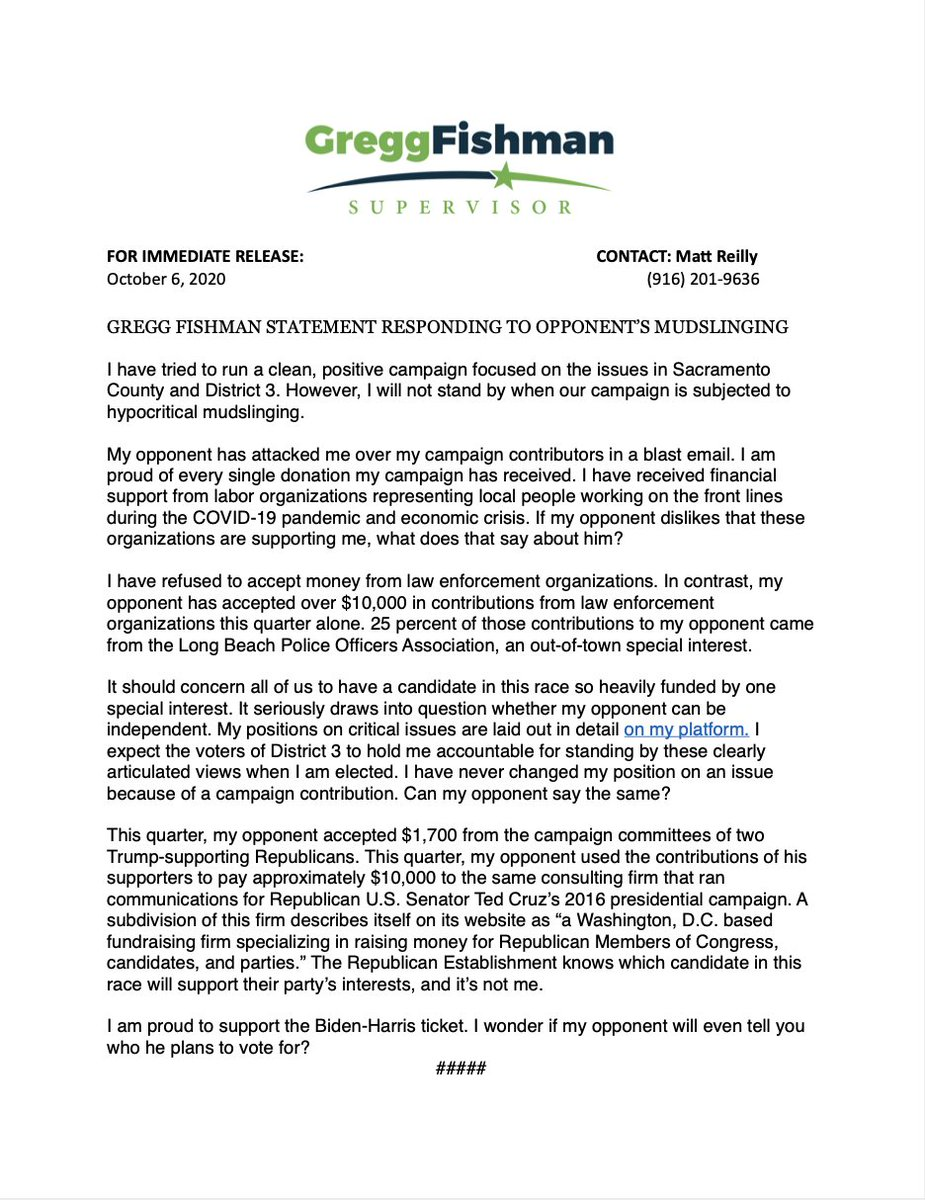 As a father, I have taught my children that the only way to stop bullies in their tracks is to stand up for yourself. I would be remiss not to follow that advice now. Here's our press release responding to my opponent's recent mudslinging of our campaign. https://t.co/ntgz7VZgzZ
