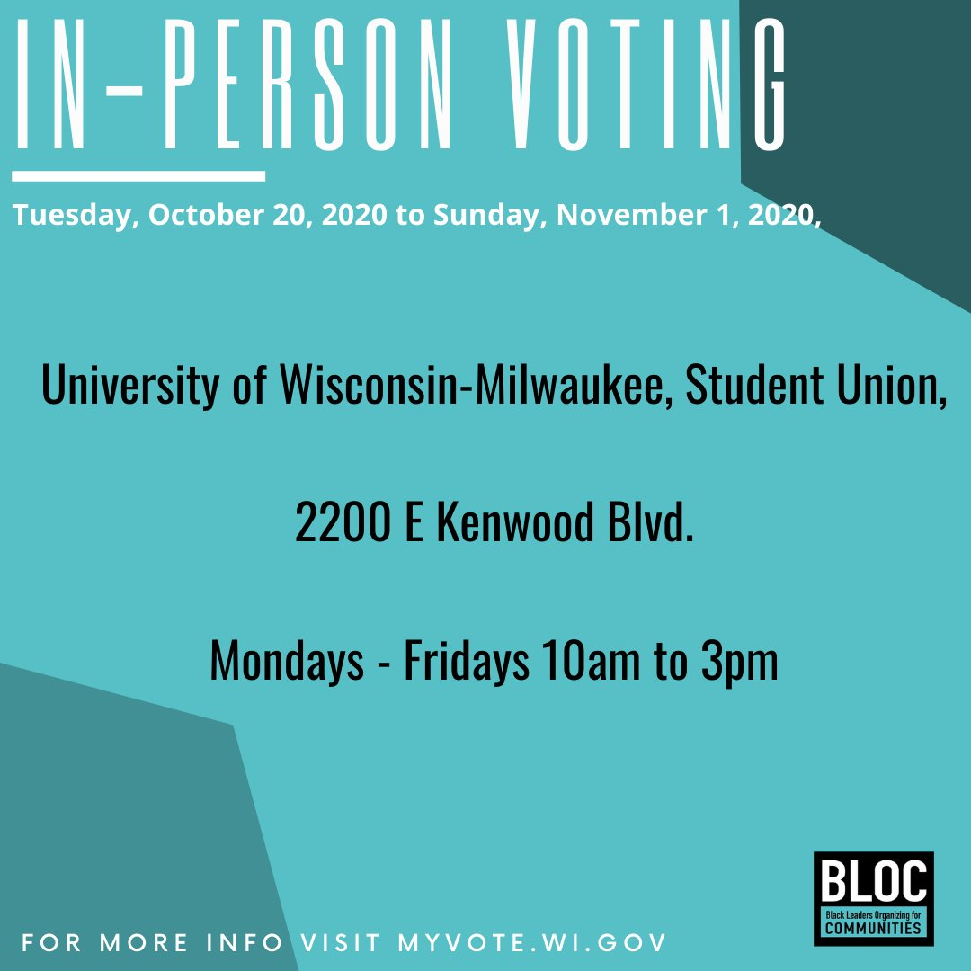 #Milwaukee folx—go vote early! #MilwaukeeProtests #Vote2020 Thanks to @blocbyblocMKE for these helpful graphics!