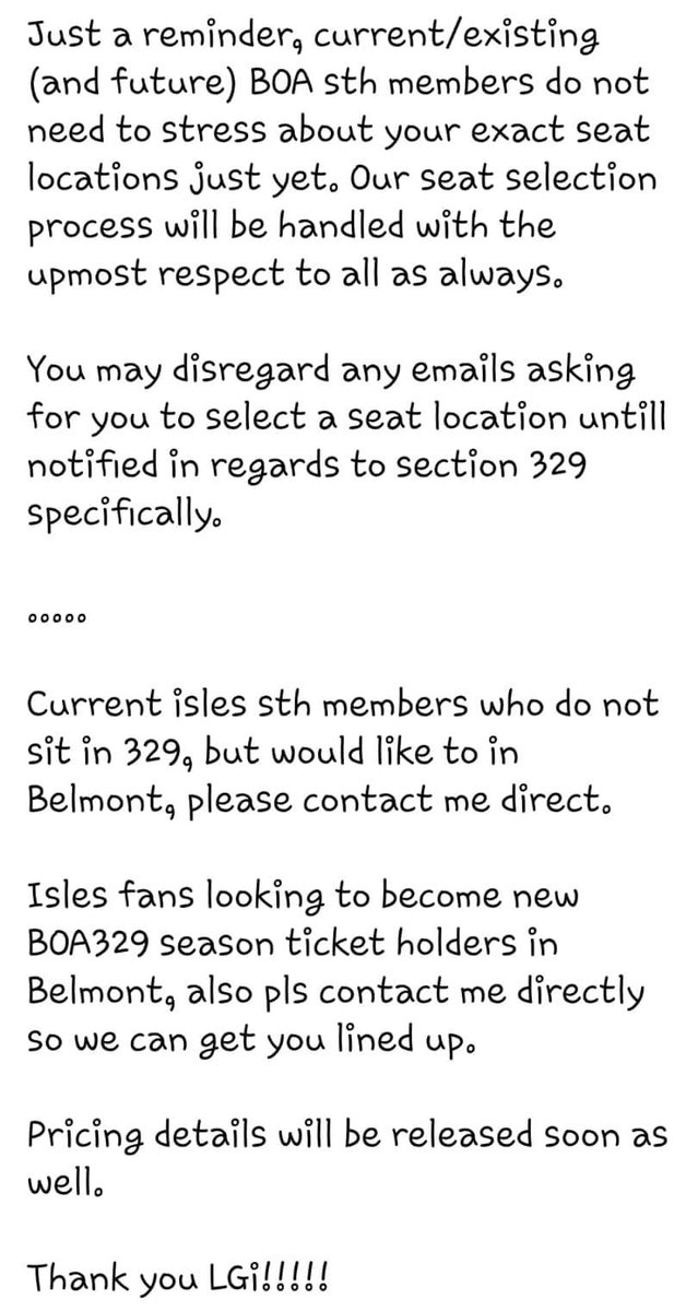 Attention all #Isles fans: 329 seating is officially open. Please contact us for all information regarding pricing, seating, availability, etc. #AlwaysSinging #BOA329 https://t.co/Brzo3mvqwL