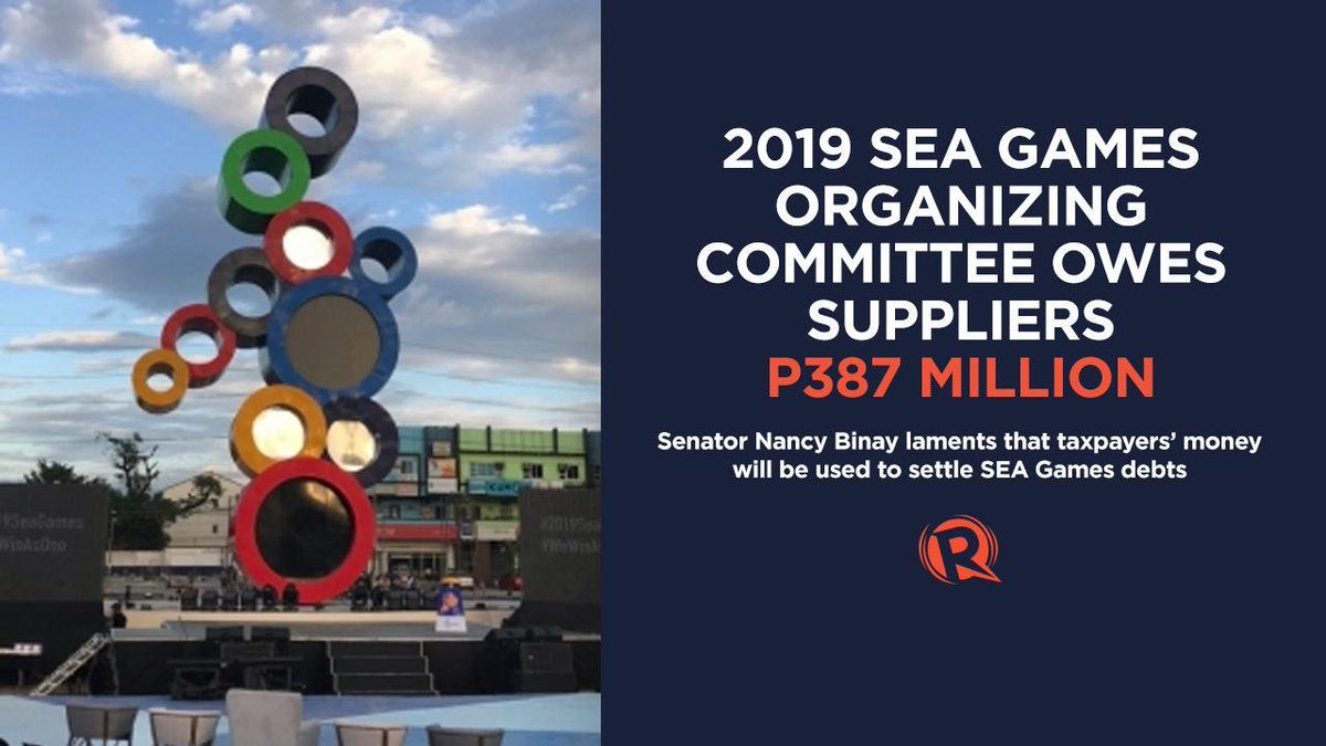 The Philippine SEA Games organizing committee (PHISGOC) chaired by Alan Peter Cayetano is under fire for its P387-million debt to suppliers. READ: rappler.com/sports/sea-gam…