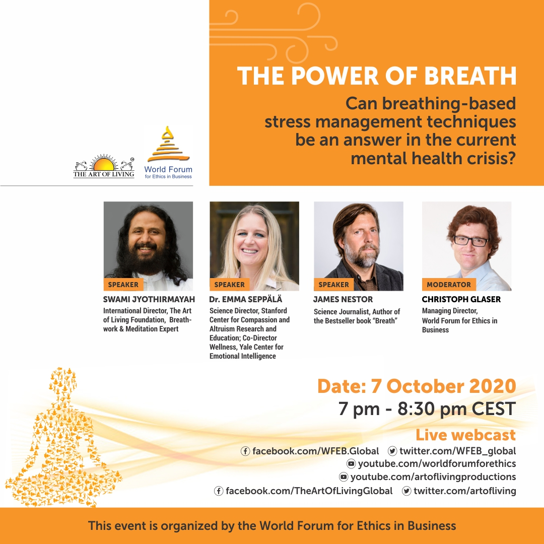 Come on virtually over Wed, Oct 7 at 10am PT to hear about things breathing and stress and breathwork with the World Forum for Ethics in Breathing and Art of Living Foundation. Swami Jyothirmayah will lead some breathwork sessions at the end. Live stream https://t.co/UmJ5ZsefCY https://t.co/IuuwY0CAoj
