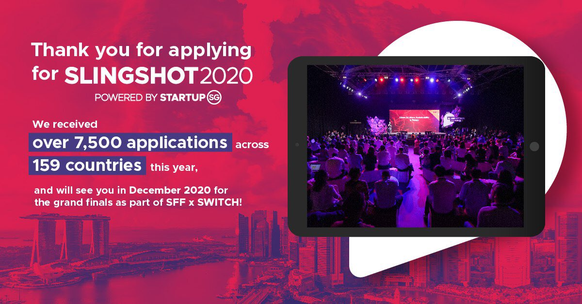 💥OVER 7,500 STARTUP APPLICATIONS 💥  💻Get front-row seats to the biggest edition of #SLINGSHOT, startup pitching competition, EVER - all from the comfort of your home on our digital platform from 7-11 Dec: Get your tickets today: https://t.co/4I44IWAFRv  @agorize   #SWITCHSg https://t.co/gbbM49Amhn