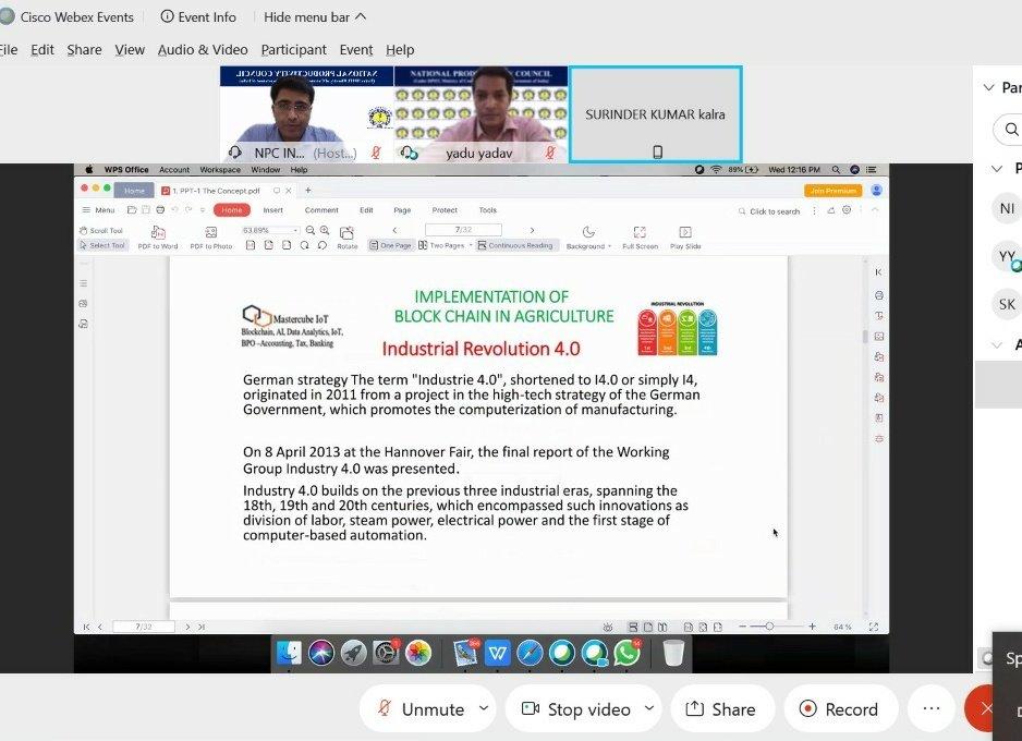 In the ongoing webinar, expert is discussing the benefits of #blockchain implementation in #agriculture sector @NPC_INDIA_GOV @NPC_COE4IR @icarindia @AgriGoI @USDA @CGIAR @MOFPI_GOI @WholeFoods @parleG @CadburyUK @PepsiIndia @CocaCola_Ind @BikanervalaIN @HaldiramSnacks https://t.co/BDicHzq5Ea