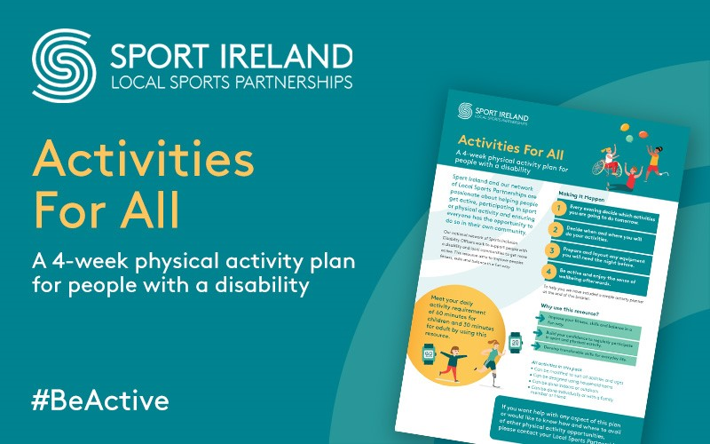 Sport Ireland and the Network of Local Sports Partnerships have released a 4 week physical activity plan for people with a disability  Read more on  https://t.co/qGnndQ31li   @CaraCentre_ie @SOIreland @IrishWheelchair  #BeActive https://t.co/a3y0wd7MLS
