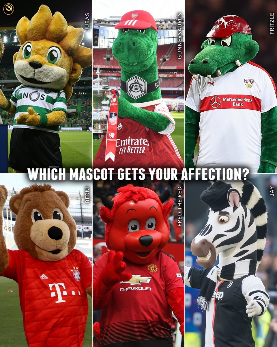 Globe Soccer Awards On Twitter Which Mascot Gets Your Affection Jubas Of Sporting Cp Fritzle Of Vfb Stuttgart Gunnersaurus Of Arsenal Berni Of Bayern Fred The