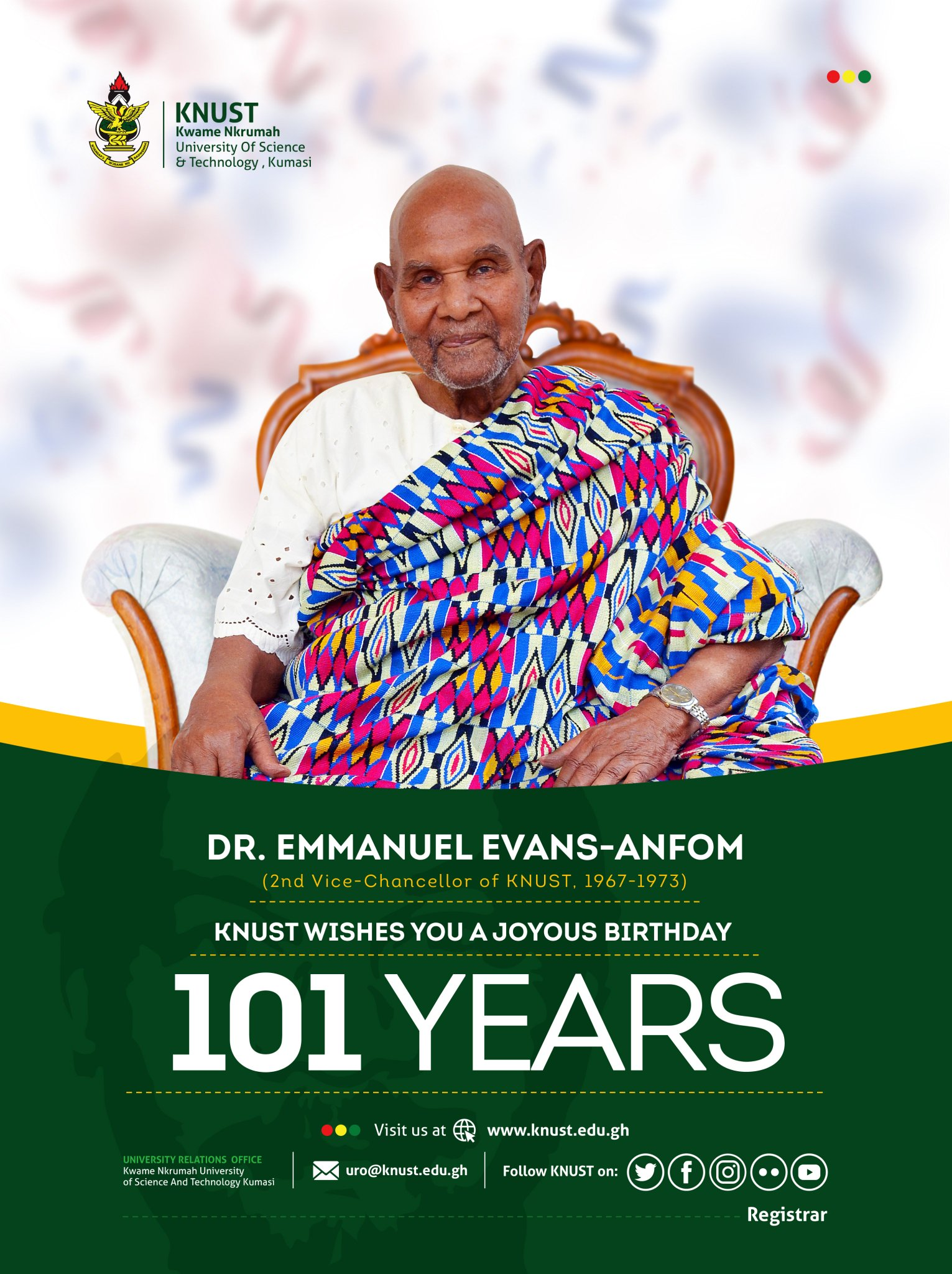 """KNUST on Twitter: """"Joyous Birthday to Dr. Emmanuel Evans-Anfom, our 2nd  Vice Chancellor (1967-1973).… """""""
