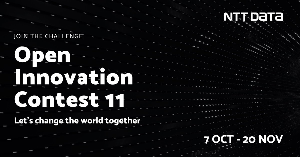 Are you a start-up and want to participate in the digital transformation of businesses? Take part in NTT DATA's Open Innovation Contest and realize your idea! #OpenInnovationContest2020   https://t.co/Nn4VX3qMC6 https://t.co/BYZ1hVMVWg