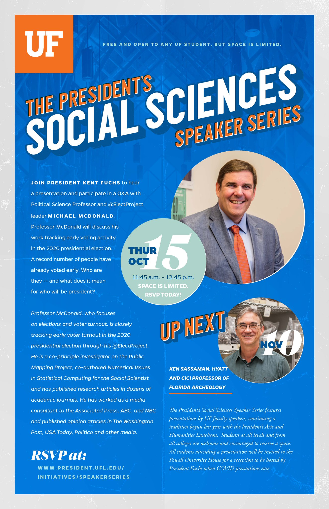 """UF Levin College of Law on Twitter: """"#UFLaw students are invited to @PresidentFuchs' Social Sciences Speaker Series on Thursday, Oct. 15, with Political Science Professor and @ElectProject leader Michael McDonald. Space is"""