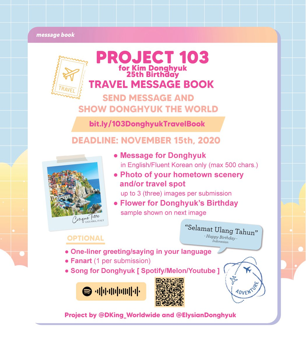 #Project103DONGHYUK TRAVEL MESSAGE BOOK ✈  For ENGLISH form, check here: 💌 https://t.co/X4m4I2Mzps  🗓️ til Nov15  Let's send lovely messages for our dear  #DONGHYUK for his BDAY. Please share! Thank you 🌻  #DK #동혁 #iKON #아이콘 @YG_iKONIC https://t.co/CIIGIqQVo6
