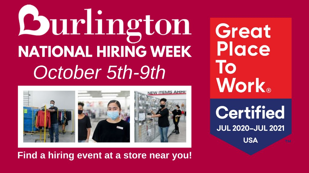 Join #OurBurlington team and enjoy an award-winning work culture and great associate discount (which will come in handy for that holiday shopping!). We're having hiring events in stores nationwide this week. Find a hiring event near you: .