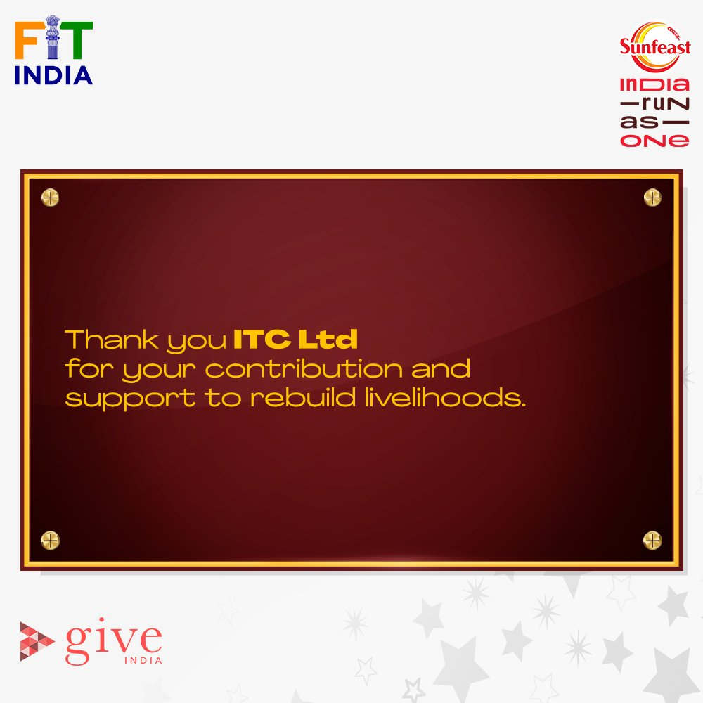 We are grateful for your support and contribution to #SunfeastIndiaRunAsOne, @ITCCorpCom. 🙌  Together, we have made a difference and helped the nation in rebuilding the lost livelihoods.   #LivelihoodsMatter.