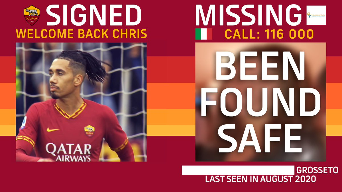 SAFE! A teenage girl from Italy who featured in #ASRoma's 'Missing Children' transfer videos for @ChrisSmalling, @Mayoral_Borja, Marash Kumbulla & @_Pedro17_ has been found safe.  To date, 7 kids featured in Roma's 'Missing Children' videos have been found safe ❤️ @ICMEC_official https://t.co/mDUfVsDmrS
