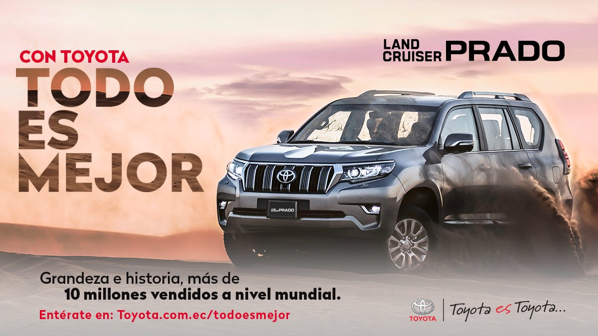 Land Cruiser Prado con más de 10 millones de unidades vendidas a nivel mundial  Solo #ConToyotaTodoEsMejor sé parte de la grandeza e historia del increíble Toyota Land Cruiser Prado. . . #Toyota #ConToyotaTodoEsMejor #ToyotaEsToyota #Ec #instagood #style #styleToyota https://t.co/oLIwWbnBQZ
