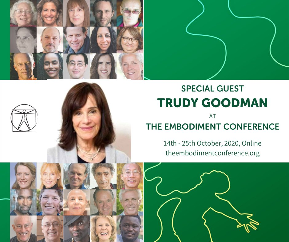 Ill be teaching at the FREE Embodiment Conference (10/14-10/25). Learn from many teachers in the fields of meditation, yoga, martial arts, social change, and more. Deepen your practice and connect with people from across the globe. Info: theembodimentconference.org/#TrudyGoodman