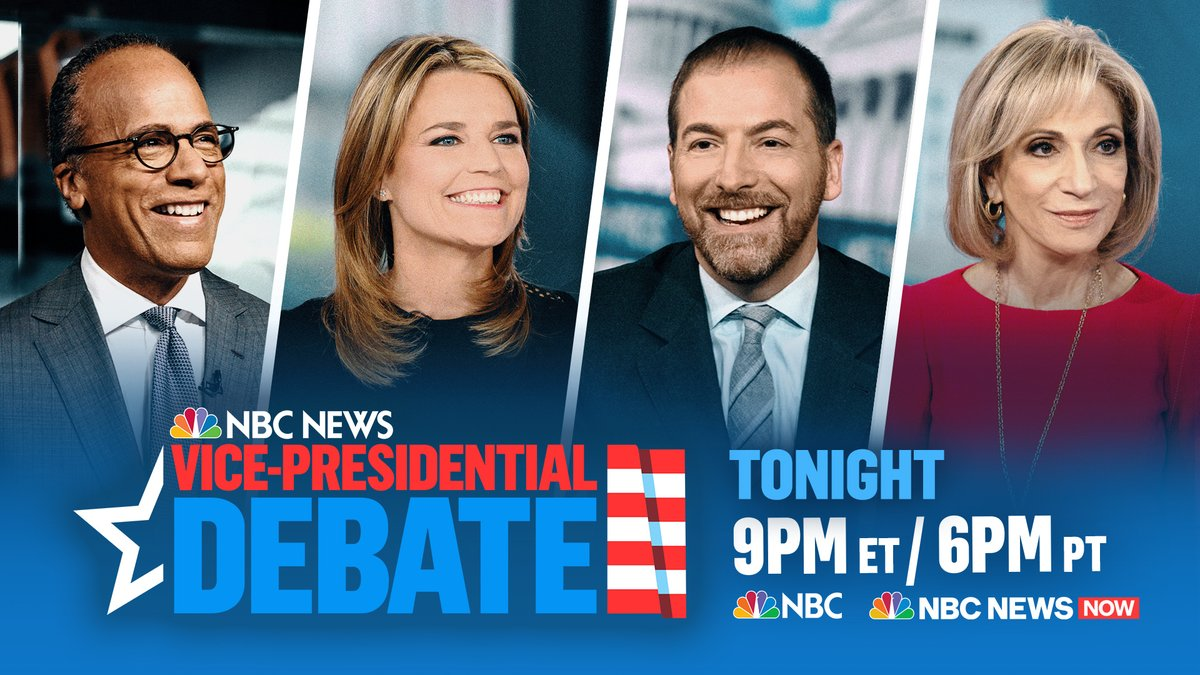 TONIGHT: Tune in to @NBCNews or @NBCNewsNow coverage of the Vice Presidential Debate beginning at 9 PM featuring @LesterHoltNBC, @SavannahGuthrie, @mitchellreports and @ChuckTodd. Dont miss it!