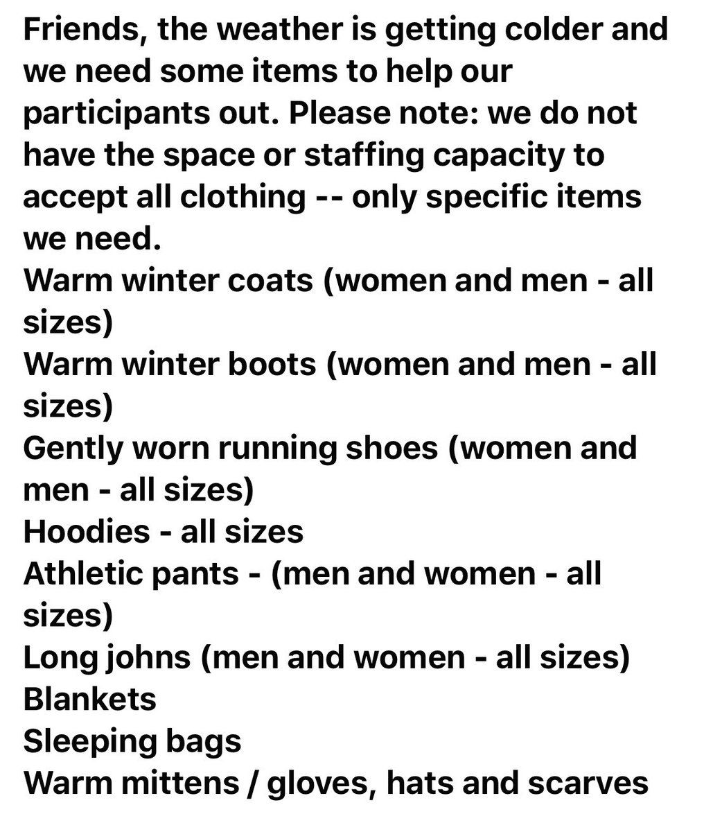 Friends we are in need of warm items for participants of My Sisters' Place and the London Coffee House (women and men). Please know we are grateful for all the ways you support us. #ldnont @CMHAMiddlesex @LdnHomeless