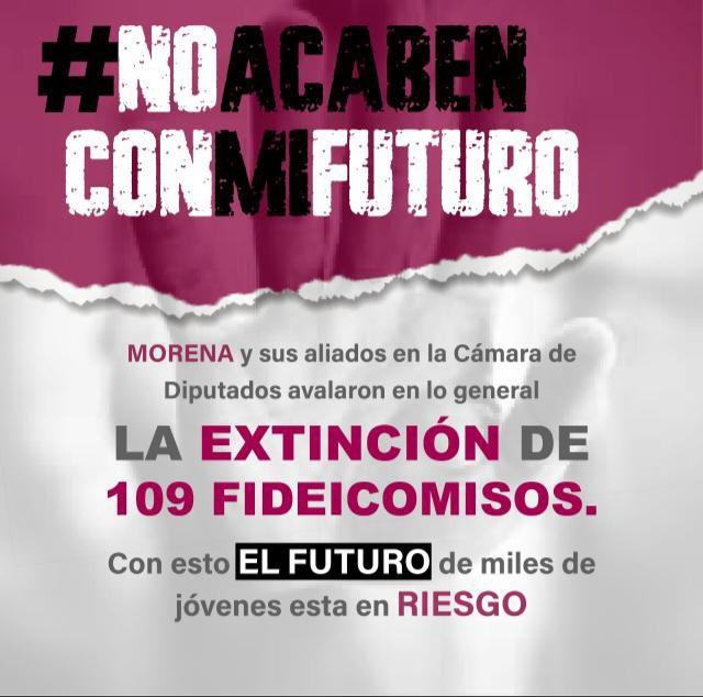 Morena y sus aliados en la @Mx_Diputados, demuestran una vez más que lo que menos les preocupa es la economía, medio ambiente y apoyar a las y los mexicanos, al desaparecer 109 fideicomisos.  #NoAcabenConMiFuturo #MorenaContraMéxico https://t.co/ESEy93L9lk
