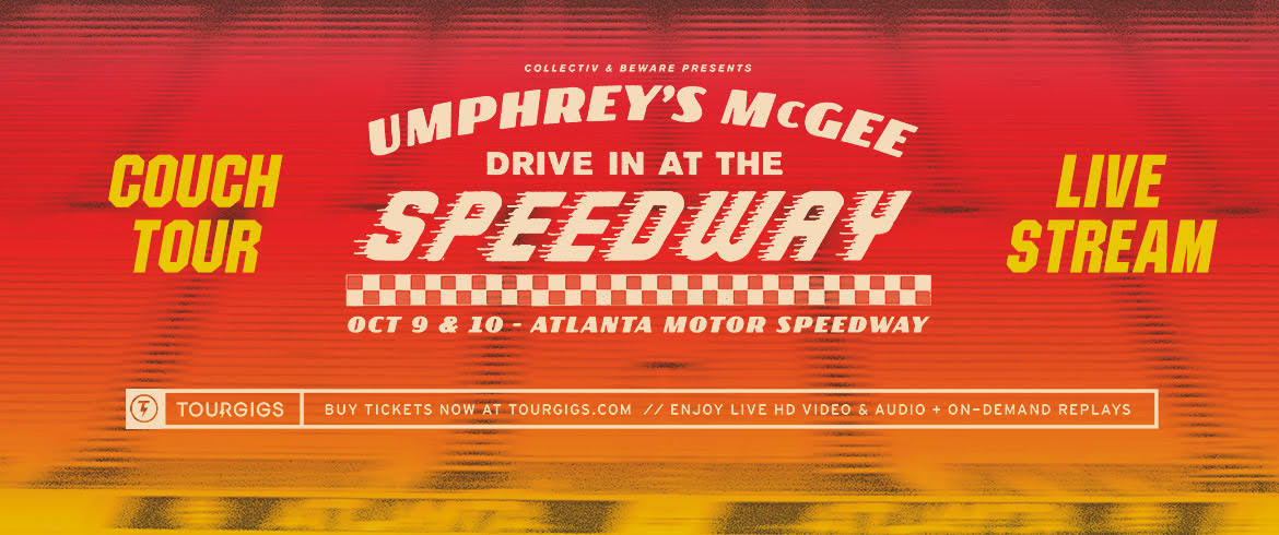 We are taking the drive-in concert experience virtual, live from the @amsupdates this weekend. Don't miss the final two #umphreys shows of 2020 regardless of where you find yourself. Shake 'N Bake! Fri: bit.ly/SpeedwayLive1 Sat: bit.ly/SpeedwayLive2