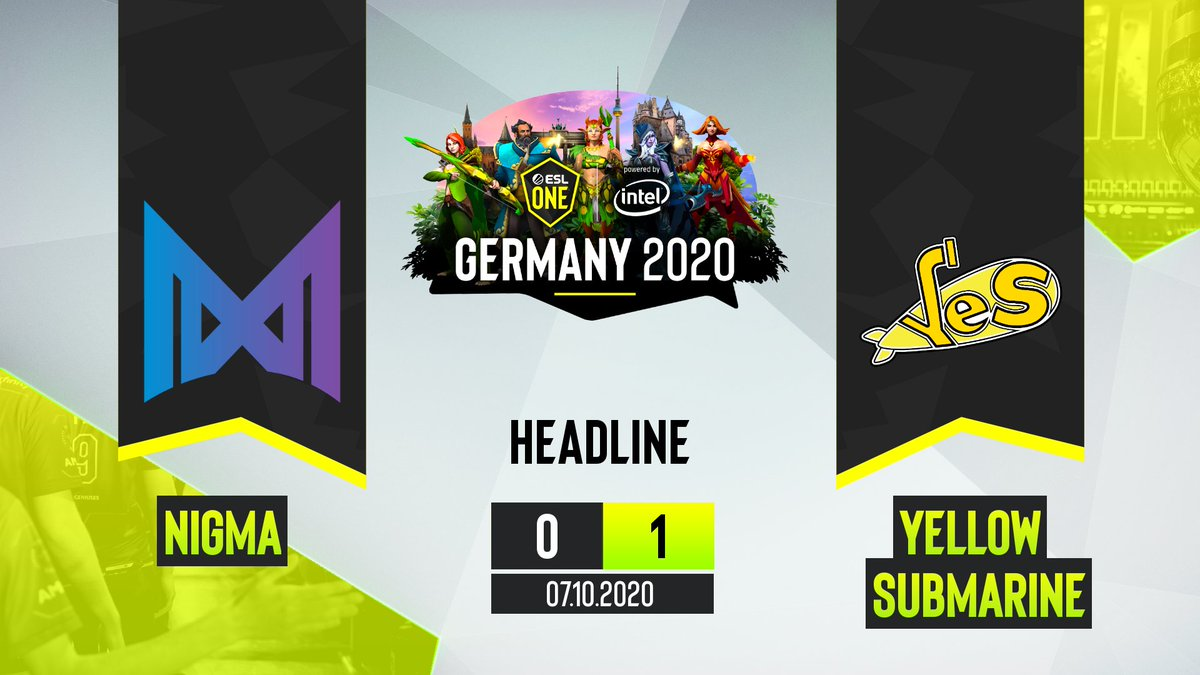 Esl Dota2 On Twitter Yellow Submarine S Take Game One After A 56min Long Game Teamnigma Vs Yesdota2 Game Two Coming Up Https T Co Jkncjqcy84 Eslone Https T Co Hxgaacbjo6