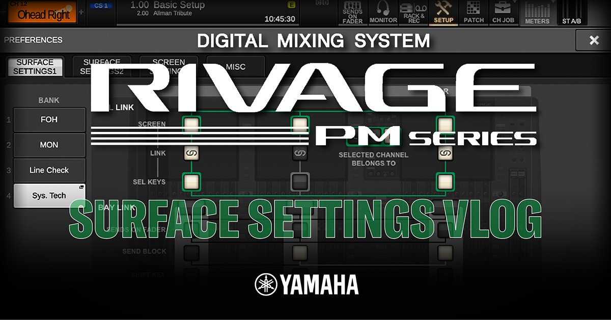 Yamaha UK's Andy Cooper explains the new SUFACE SETTINGS functionality of the RIVAGE Series version 4 firmware and all the workflow enhancements! Check it out below.  https://t.co/ncjIu6MVhO  #proaudio #yamahaproaudio #audioengineer #RivagePMSeries https://t.co/FSQTMJB5qU