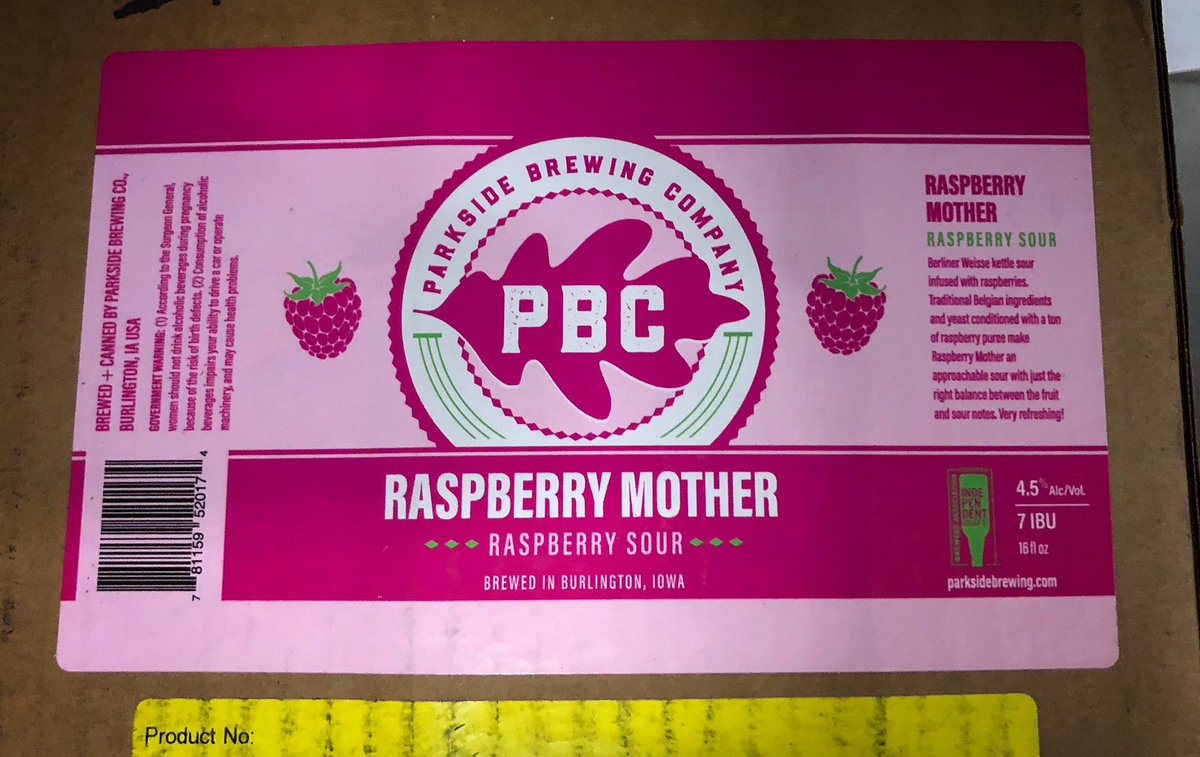 Look what came in the mail today!   Look for Raspberry Mother cans in your area soon! #parksidebrewing #pbc🍻#kettlesour #raspberrysour #burlingtonia https://t.co/WbEJZhJm93