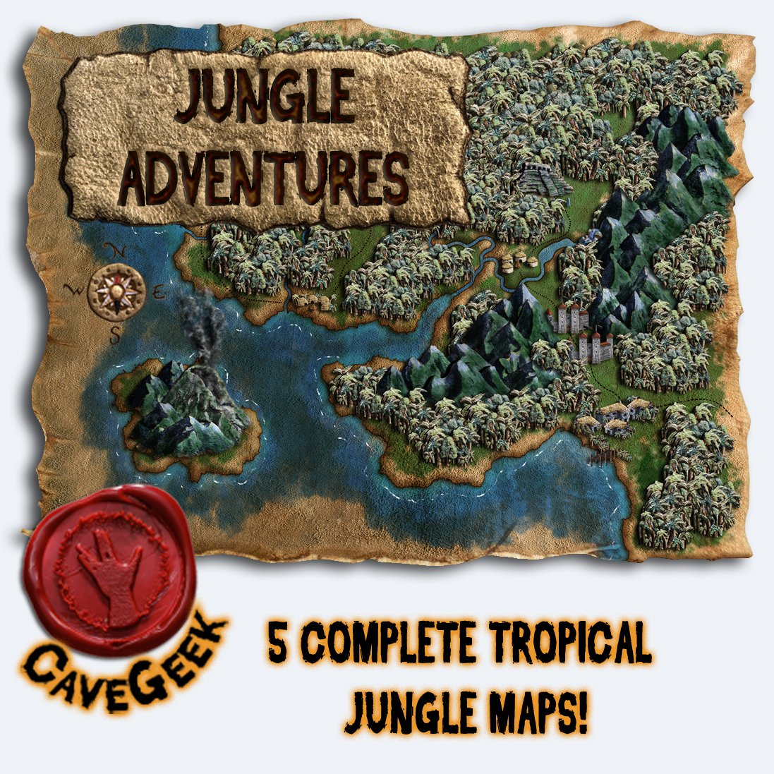 My new map pack: Jungle Adventures, is now available on my web store! 5 complete maps full temples, ape shaped mountains, native villages, settlers, and more! . #DnD #ttrpgs #jungle #ancienttemple #cartographer #cavegeekart #fantasycartography #fantasymaps #mapmaker #Roll20 https://t.co/Naz8AC8cdq