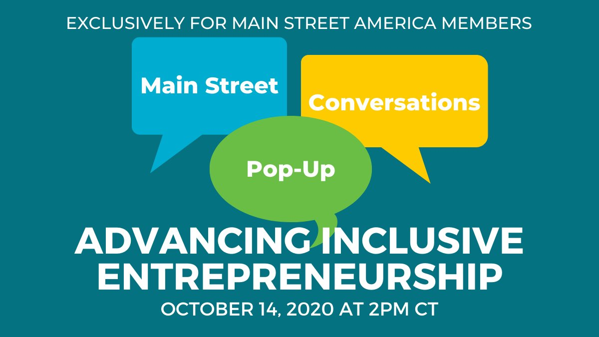 We are excited to announce the next session in our new Pop-up Conversations series, exclusively available to Main Street America members! Join these casual meet-ups organized around a common topic and facilitated by NMSC staff. Join us next week: https://t.co/1ao55j8Xky https://t.co/7TIzL5O7mD