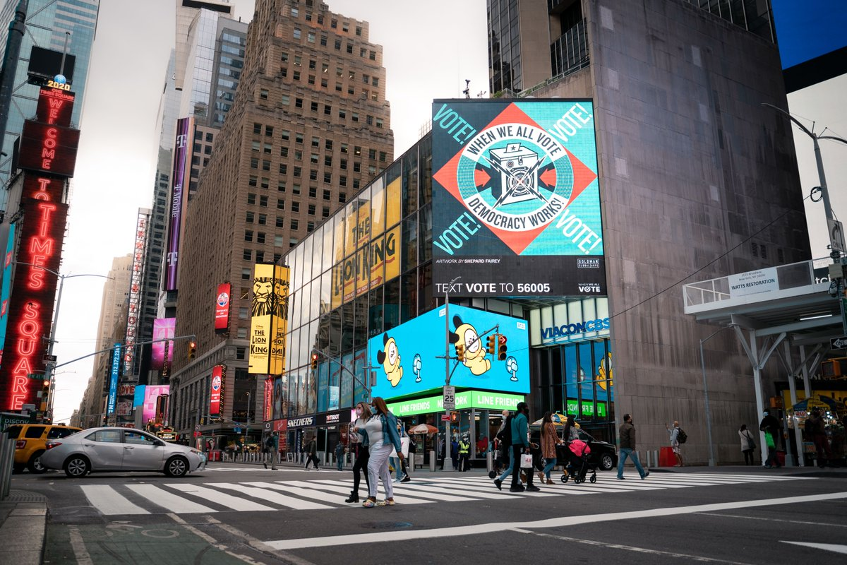 The art I created for Goldman Global Arts & @whenweallvote's digital mural campaign is now up at several cities across the nation! We're only 27 days away from #ElectionDay… get to the polls! -S  📷:: Times Square - Jerome Poirier San Francisco - Oracle Park Team https://t.co/PK3FzFgOTs