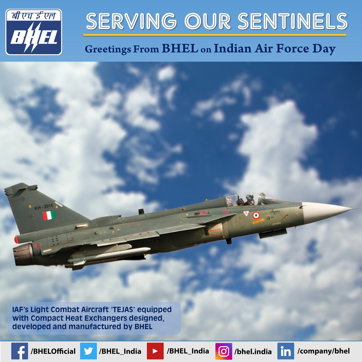 Greetings from #BHEL on ##IndianAirforceDay  #IAFDay2020 @heindustry @IAF_MCC #IndianAirforceday2020 #AFDay2020 @DefenceMinIndia @PIB_India @rajnathsingh @drajaykumar_ias @adgpi @SpokespersonMoD https://t.co/pU8eOcvgff