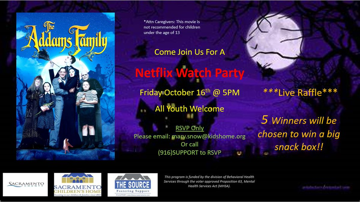 🎉EXCITING NEWS!!🎉  The date and time for our Watch Party has been determined AND we will be holding a live raffle to win a big snack box!! By RSVP only: Mary.snow@kidshome.org or call/text (916)Support.  #virtualevent #Watchparty #Halloween2020 #Sacramento #snacks #SacCounty https://t.co/RDrXxkcuNO