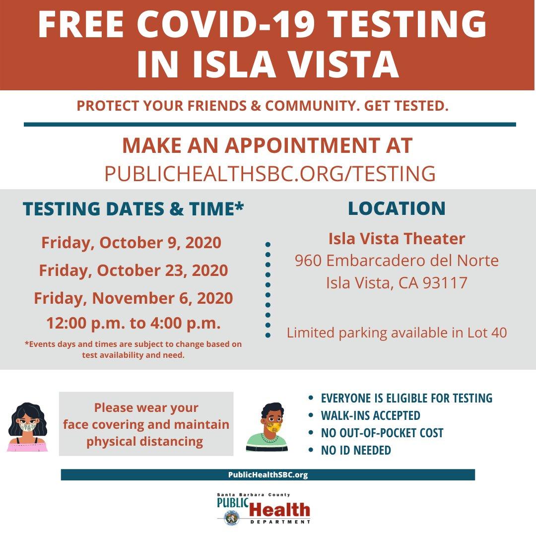 Free #COVID-19 testing in Isla Vista. Make an appt at PUBLICHEALTHSBC.ORG/TESTING.