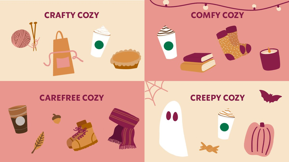 How are you staying cozy this fall?   🥧 Crafty Cozy: Baking and making with a Pumpkin Spice Latte. ☕ Comfy Cozy: Snuggling up with a Hot Chocolate.  🍂 Carefree Cozy: Crunching leaves with a Pumpkin Cream Cold Brew.  👻 Creepy Cozy: Ghoulishly sipping a Salted Caramel Mocha. https://t.co/4S2KvT9CC2
