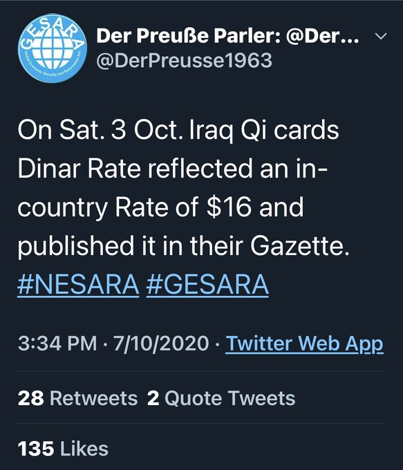 "Judy Notes: ""Iraq published in the government Gazette that their in-country Dinar rate was $16.00+"" 10/7/20 Ejy2n93WAAArbLy?format=jpg&name=small"