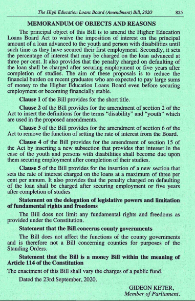 The proposed Bill that will see Helb beneficiaries pay lesser interest loans.