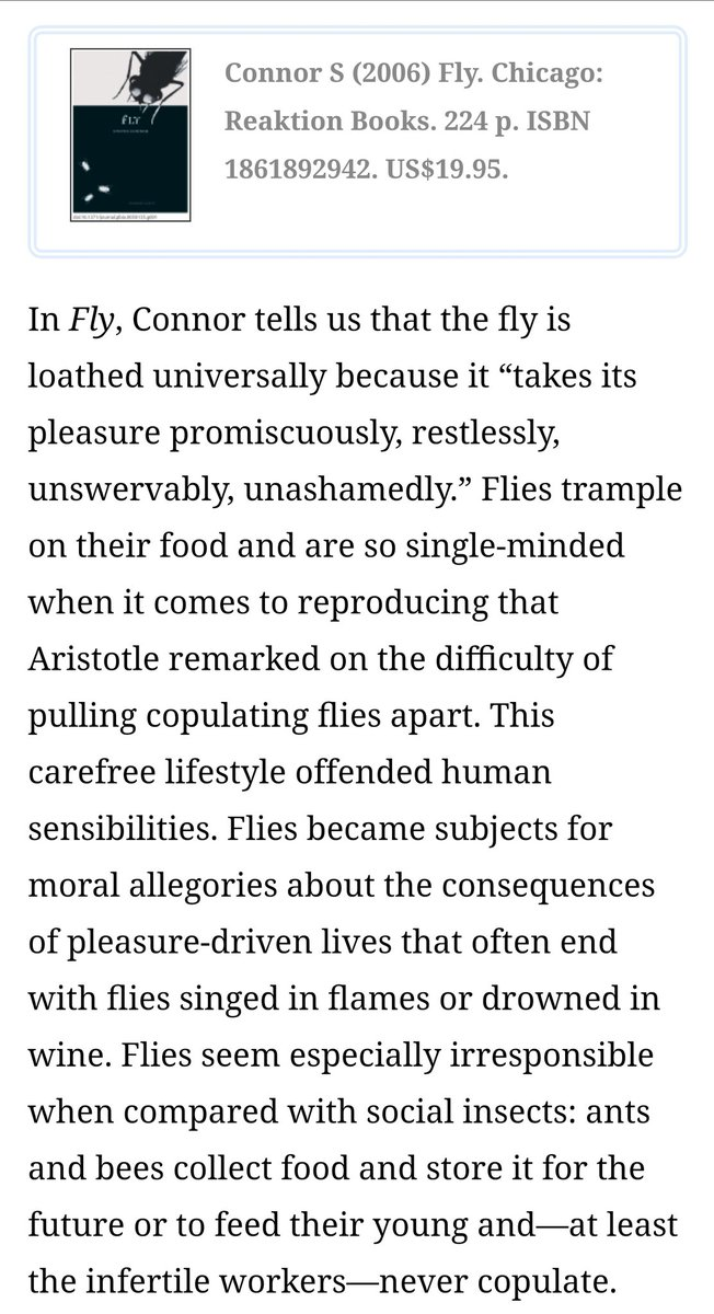 "The #fly is loathed universally because it ""takes its pleasure promiscuously, relentlessly, unswervably, unashamedly."" - A Cultural and Natural History of the Fly from our own gov's archives: https://t.co/Bdu9fKPep9 #VPDebate #flies #fliesandlies #flygate https://t.co/pPXZoftOoW"
