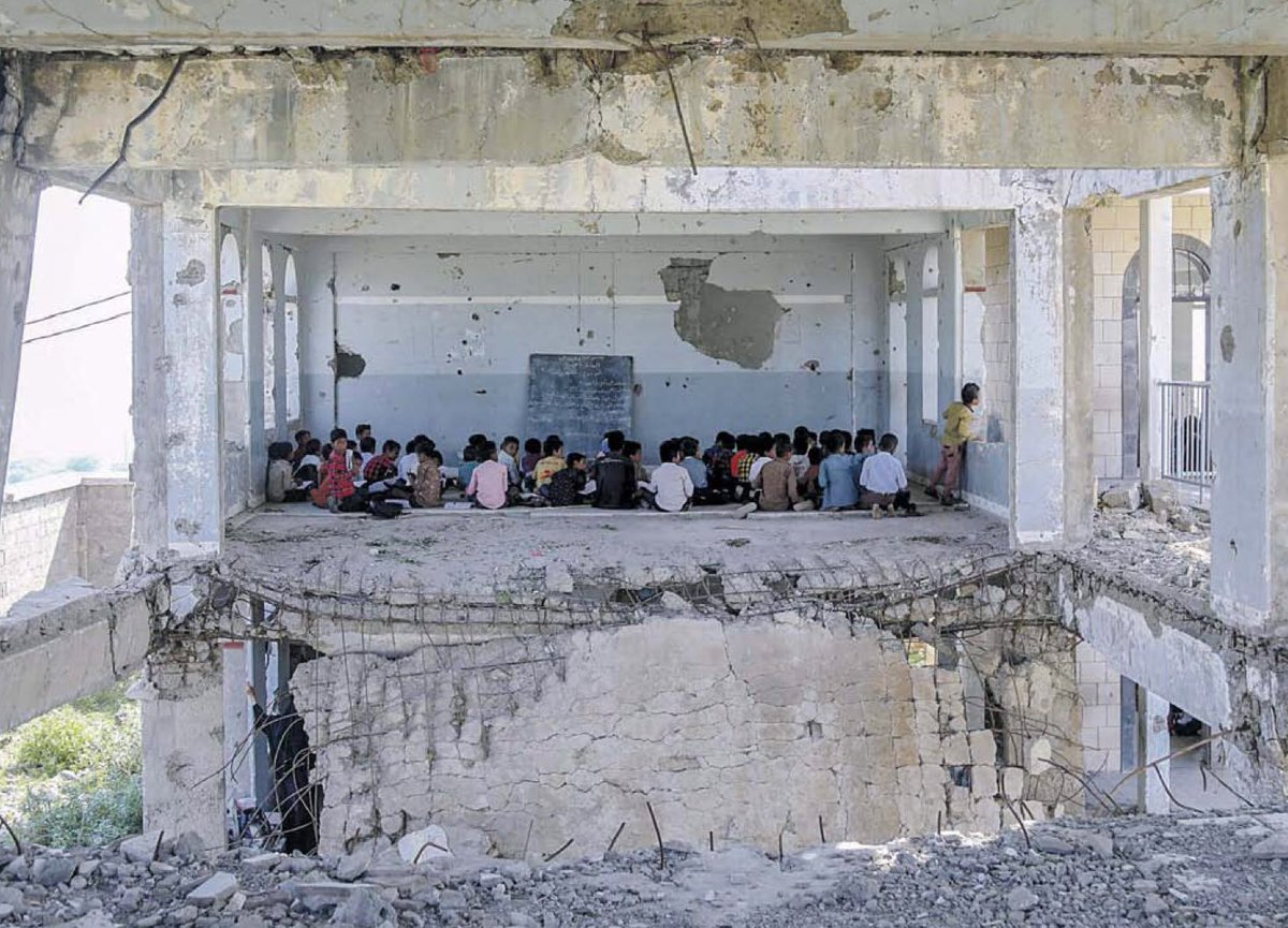 Pupils start the new school year in Taez, Yemen