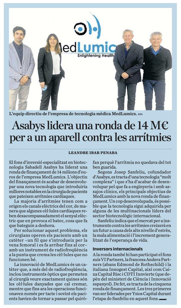 #Inversió | El fons d'inversió especialitzat en biotecnologia #SabadellAsabys ha liderat una ronda de finançament de 14 milions d'euros de l'empresa #MedLumics per a un aparell contra les arrítmies via @diariARA  #SerOnSiguis @BancSabadell https://t.co/dSAMpBDqda