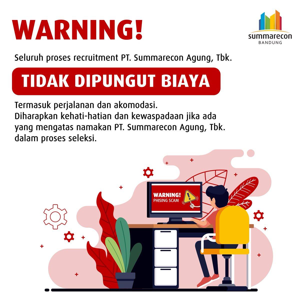 Wargi Bandung, harap berhati-hati terhadap penipuan jika ada yang mengatasnamakan PT Summarecon Agung Tbk., atau Summarecon Bandung dalam rekruitmen karyawan.   Seluruh proses seleksi tidak memungut biaya apapun kepada calon karyawan.  #SBDinfo #SummareconBandung https://t.co/j7iPXkg3gL