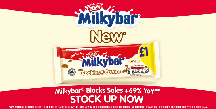 ❗ NEW Milkybar Cookies & Cream in-store now ❗  Head down to your local Hancocks now and grab yours for just £7.79, making a great POR of 33.2% when sold at £1 RRP! 😱  Shop in-store now or online at https://t.co/M3CZtvypAC https://t.co/5c2Ite0N2z