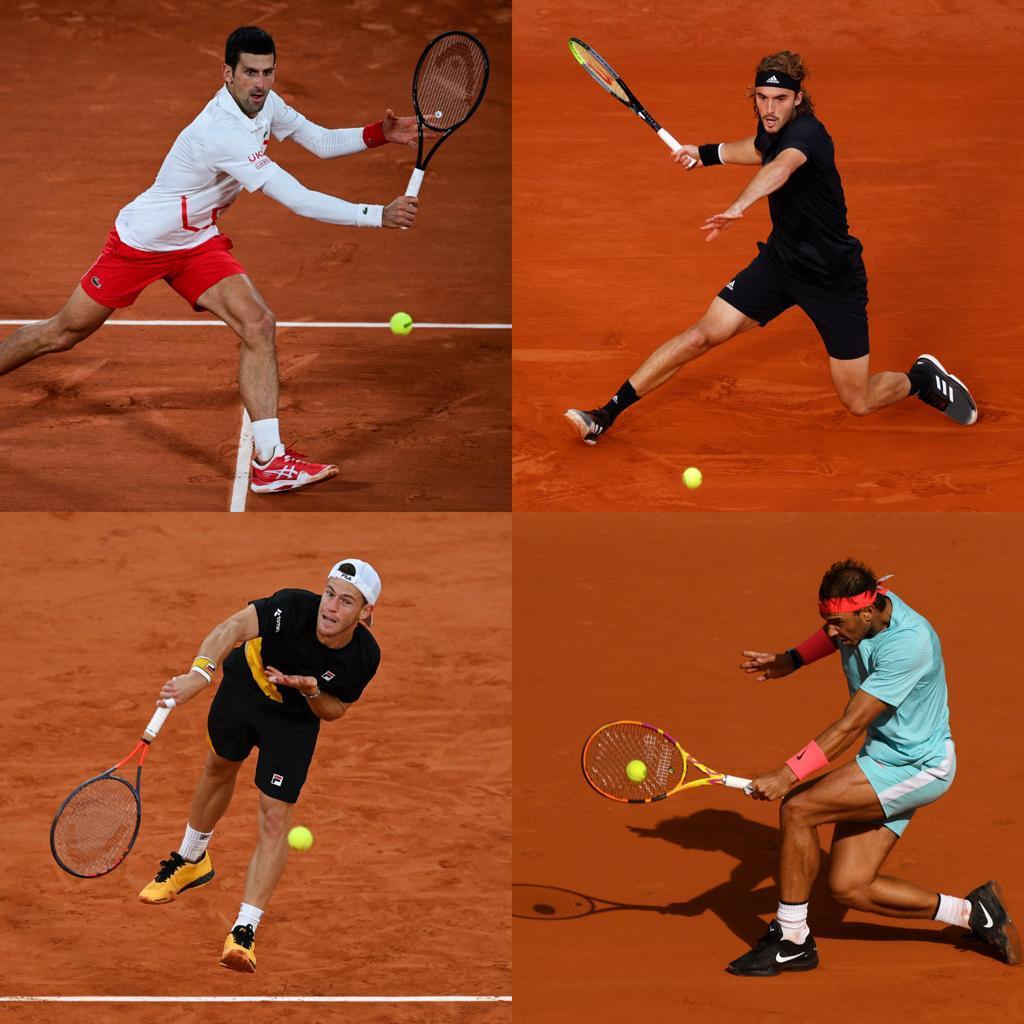 🇷🇸 Djokovic 🆚 Tsitsipas 🇬🇷 🇦🇷 Schwartzman 🆚 Nadal 🇪🇸  🏆Chi saranno i due contendenti finali al titolo del #RolandGarros?   #tennis #RG20 https://t.co/rBgcMrbbEh