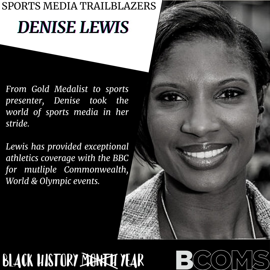 Continuing on with giving recognition to our sports media trailblazers....  Next up we recognise @RealDeniseLewis   Thank you Denise for all the work you do and for inspiring us.  #BlackHistoryYear