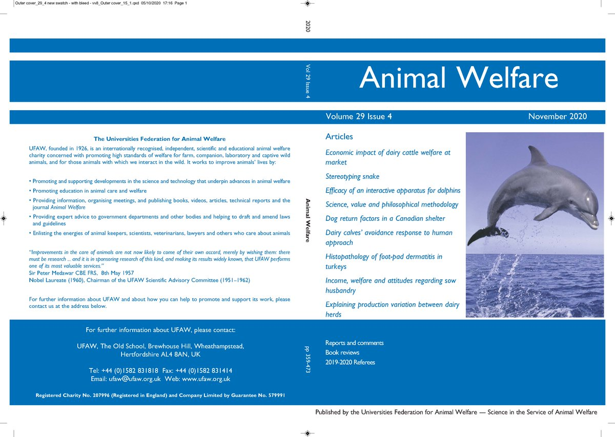 The November issue of Animal Welfare is currently at the printers and, as always, it's packed full of fascinating papers. Don't miss out https://t.co/gCETgjbeft.    #AW29_4 https://t.co/jPWOXu2tC1
