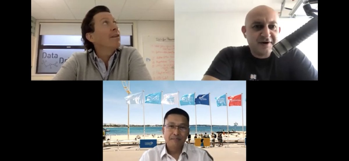 """Another episode of """"Shot of #DigitalHealth Therapy"""" = another memory lane. @jimbojoyce & I chatted with the ever-energetic @shwen , played buzzword bingo, talked health #chatbots & found out he was the OG #podcaster 2005 https://t.co/cW68nOKQNr https://t.co/EFEV6cyui5"""