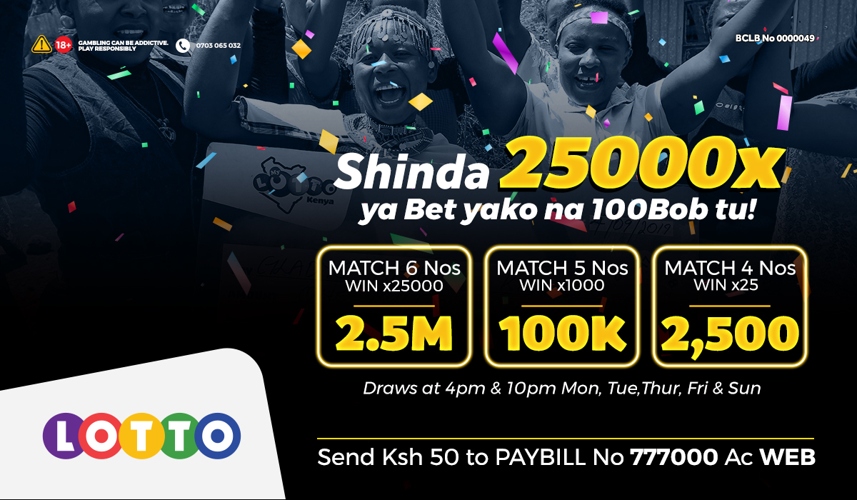Lotto inahakikisha utapokea 100K straight kwenye Mpesa yako @10pm ukimatch 5 numbers! Cheza kwa kutuma SH 100-1K to Paybill 777000 AC WEB ushinde 1000x ya bet yako https://t.co/V9oaIhux86