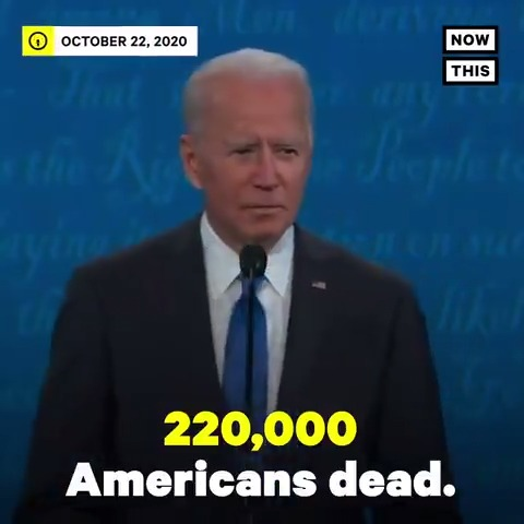 Anyone whos responsible for that many deaths should not remain President of the United States of America — Joe Biden addressed the 220,000 lives lost to COVID-19 in the U.S. #Debates2020