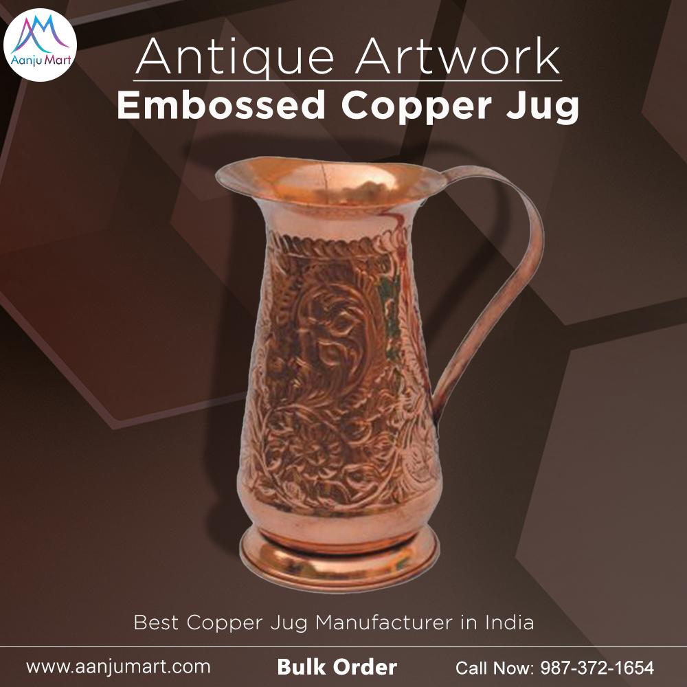 Antique Artwork Embossed Copper Jug  Bulk Order now : 987-372-1654 Visit website: https://t.co/1prN7ip4Lu  #copperpitcher #copperpitchers #copperjug #copperjugs #copper #handmade #handmadejug #handmadejugs #copperutensils #copperutensilsindia #aanjumart #moscow #moscowmule https://t.co/e1buU0wC40